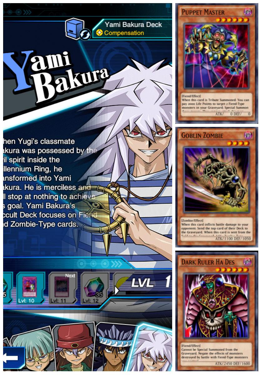 Yami Bakura LVL-การ์ดที่ดรอปจากการอัฟเลเวล บาคุระ ร่างมืด